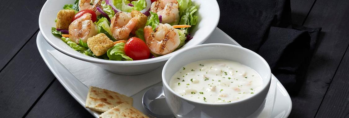 Grilled Shrimp Salad and Cup of Soup