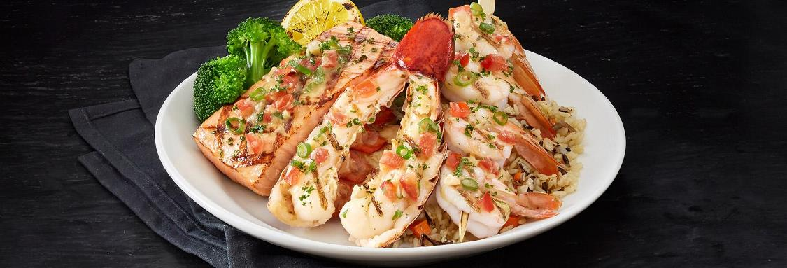 Wood-Grilled Lobster, Shrimp and Salmon