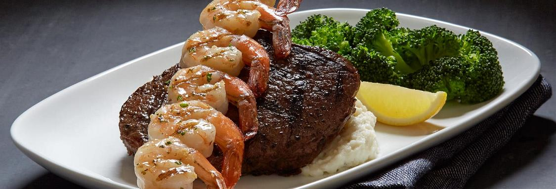 Wood-Grilled Peppercorn Sirloin* and Shrimp