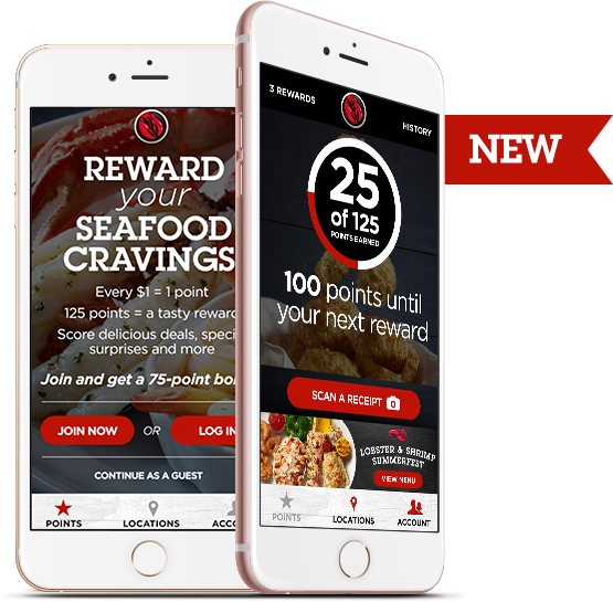 Wonderful Two Smartphones Showing The My Red Lobster Rewards App.