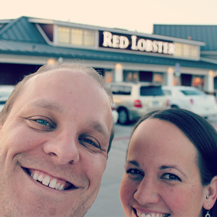 A couple eating dinner at Red Lobster.