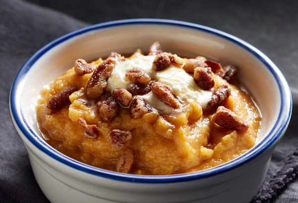 Whipped Sweet Potatoes with Honey-Roasted Pecans